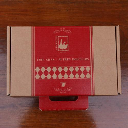 Coffret cadeau autour du foie gras et produits du Quercy - malette carton  - Les Bouriettes