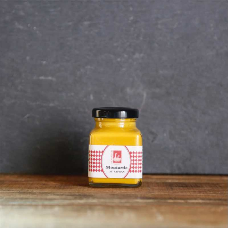 Pot en verre de moutarde au safran de 110g Les Bouriettes