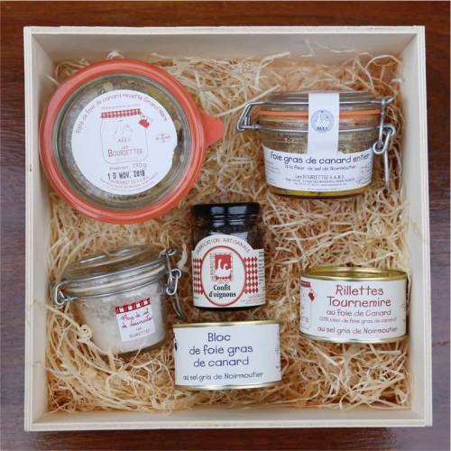 Coffret cadeau autour du foie gras et du Quercy malette carton - Les Bouriettes