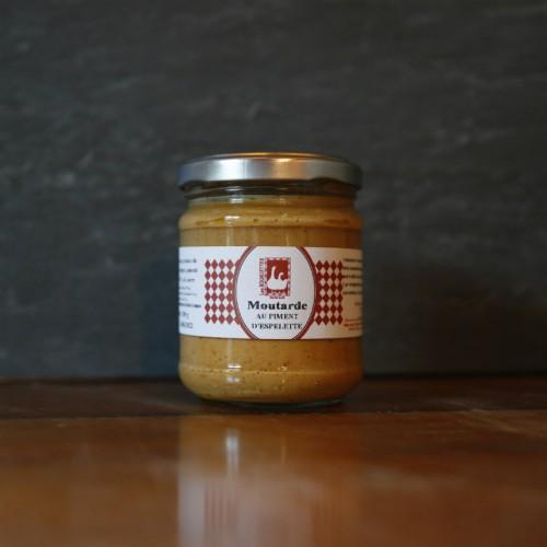 Pot en verre de moutarde au piment d'espelette de 110g Les Bouriettes