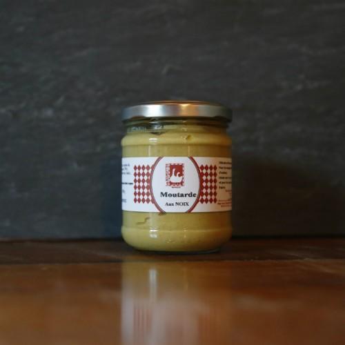 Pot en verre de moutarde aux noix de 110g Les Bouriettes